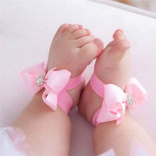 Fashion Baby Summer Beautiful Bowknot Barefoot Foot Flower Toddler Baby Foot Flower Anklet Baby Girl Sandals+Headband #5JE15#F(China)