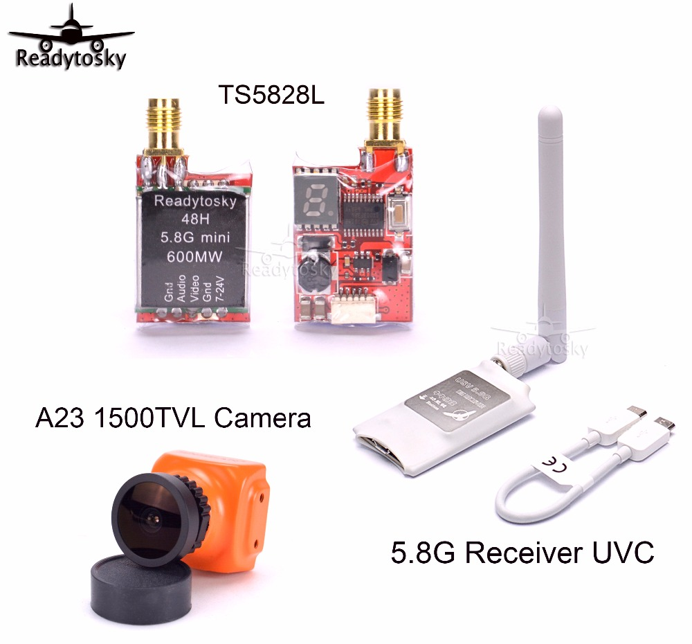 Mini 5.8G FPV Receiver UVC Video Downlink OTG + TS5828L 48Ch 5.8G 600mw Transmitter + A23 1500TVL Camera For VR Android Phone