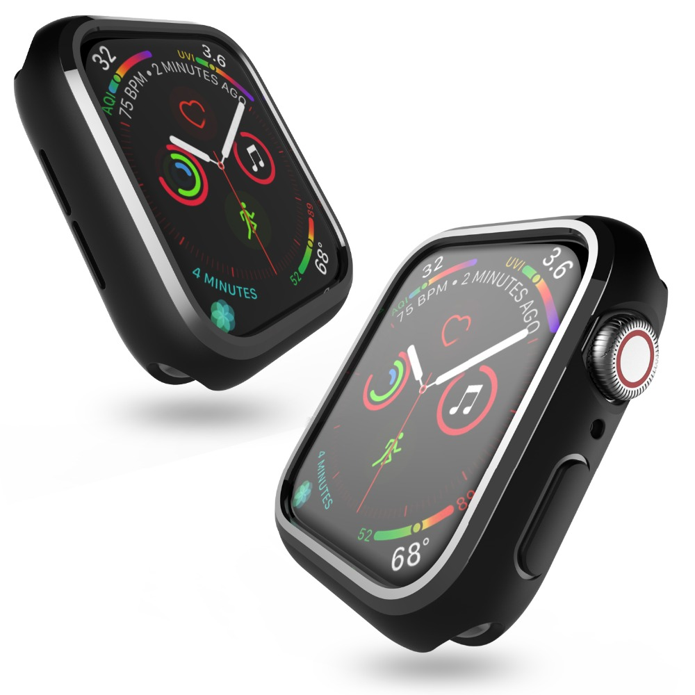 For apple watch series 4 case For iwatch Black color TPU cover slim fit protector Ultra thin frame band 40 44mm in Fitted Cases from Cellphones Telecommunications
