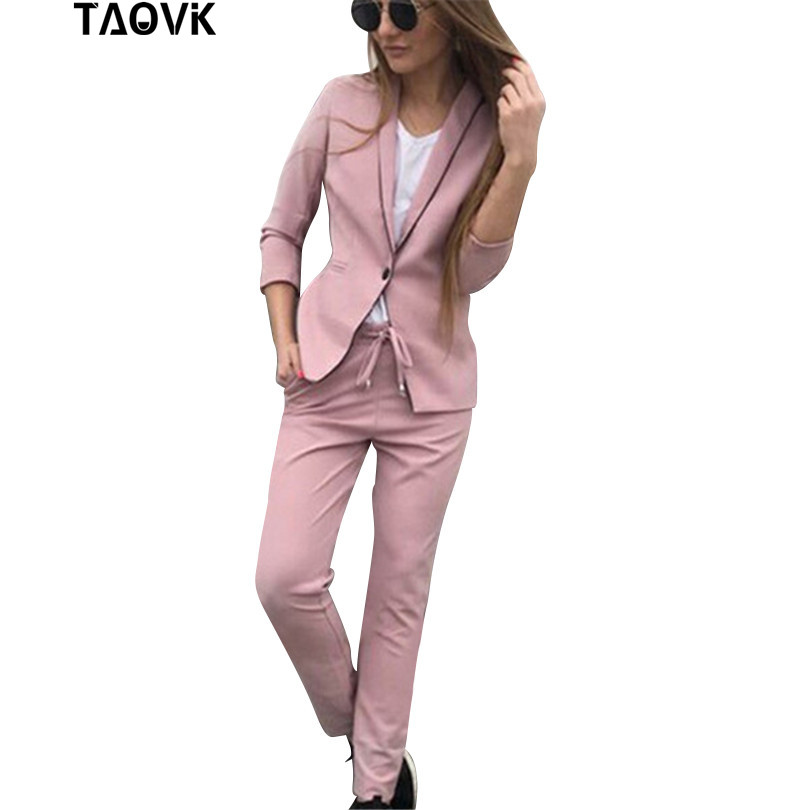 TAOVK Chic Skinny Cut Out Pant Suits OL Workwear Women s Sets Single Button Blazer Jacket