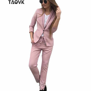 TAOVK Chic Skinny Cut Out Pant Suits OL Workwear Women's Sets Single Button Blazer Jacket+ Pant 2 Piece Set female spring suit - DISCOUNT ITEM  40% OFF All Category