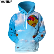 YOUTHUP 2018 Cool 3d Hoodies Men Hooded Sweatshirts Women Fire Balloon Sky Print Fashion Funny Pullover Plus Size Top
