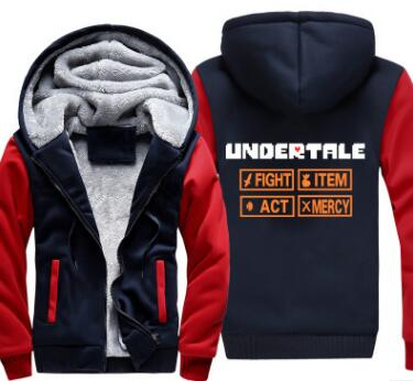 New Undertale Hoodie Game Sans GORILLAZ Coat Jacket Winter Men Thick Zipper Sweatshirt