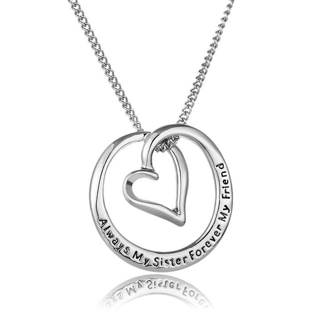 Banhado A prata Oco Rodada Colar de Pingente de Coração Sempre As Minhas Irmãs Para Sempre Os Meus Amigos Para As Mulheres Colar de Jóias
