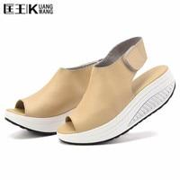 Summer Women Sandals Leather Casual Peep Toe Swing Shoes Lady Platform Wedges Sandals Walk Shoes Woman