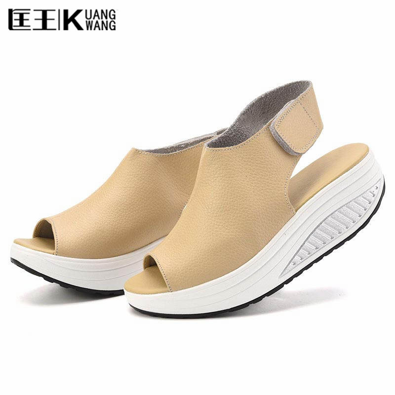 Summer Women Sandals Genuine Leatherl Casual Shoes Women Platform Sandals Peep Toe Swing Walk Shoes Woman Big Size 41 42 43 women shoes summer women sandals 2017 peep toe gold silver roman sandals shoes platform brand creepers woman sandalias size 43