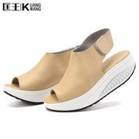Summer Women Sandals Leather Casual Peep Toe Swing Shoes Lady Platform Wedges Sandals Walk Shoes Woman