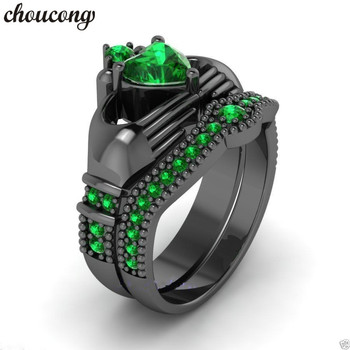 choucong New Trendy claddagh ring Green Birthstone 5A zircon cz 925 Sterling Silver Wedding Band Bridal sets ring for women men