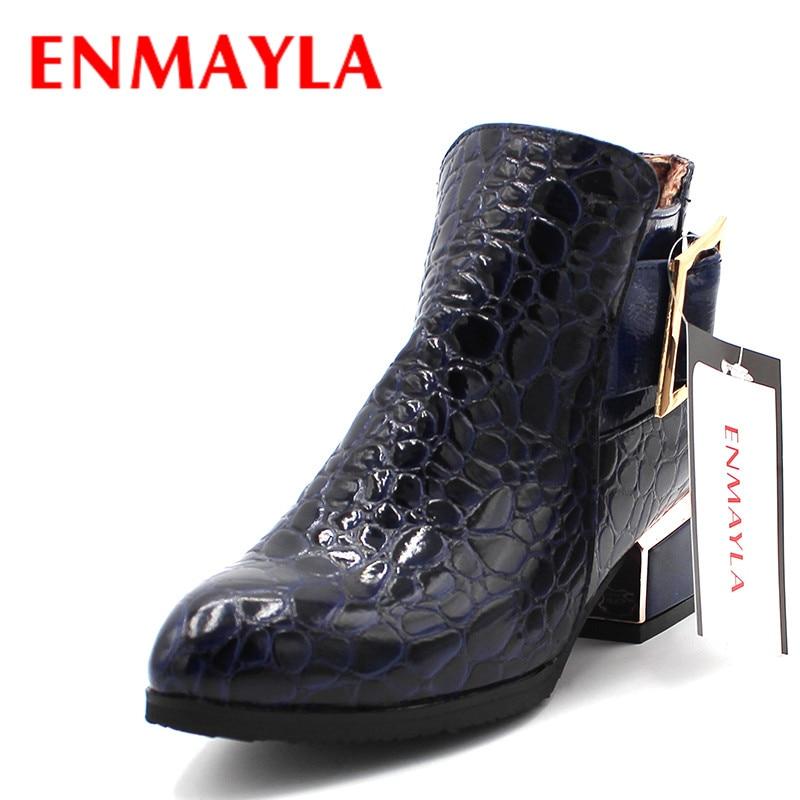 ENMAYLA novi gležnja čevlji Zip moda jesen zima kratke čevlje ženska škornji poudaril toe metal sponke čevlji ženske gležnja škornji prodajo  t