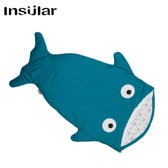 1113394b4be851 100% Katoen Shark Baby Winter Slaapzak Kinderen Slapen Zak Warm Baby Deken  Warm Inbakeren Kinderen