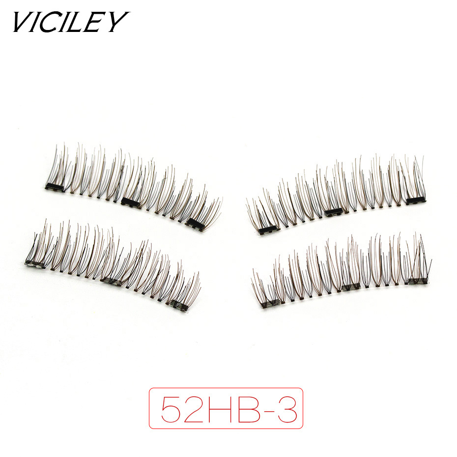 VICILEY Magnetic eyelashes with 3 magnets handmade 3D/6D magnet lashes natural false eyelashes comfortable with gift box 52HB-3