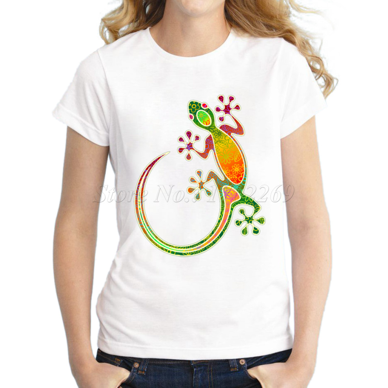 New fashion women 39 s gecko floral tribal art printed casual for Bulk neon t shirts