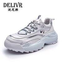 Delivr кроссовки мужская обувь повседневная 2019 белая платформа Вулканизированная обувь толстая подошва Creeper папа обувь натуральная кожа крос