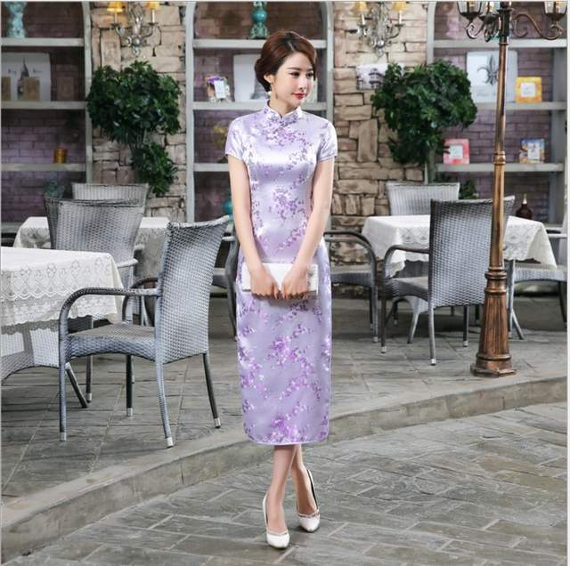 dec20fd693e placeholder Summer New Gold Chinese Women Traditional Dress Silk Satin  Cheongsam Slim Long Qipao Elegant Flower Size