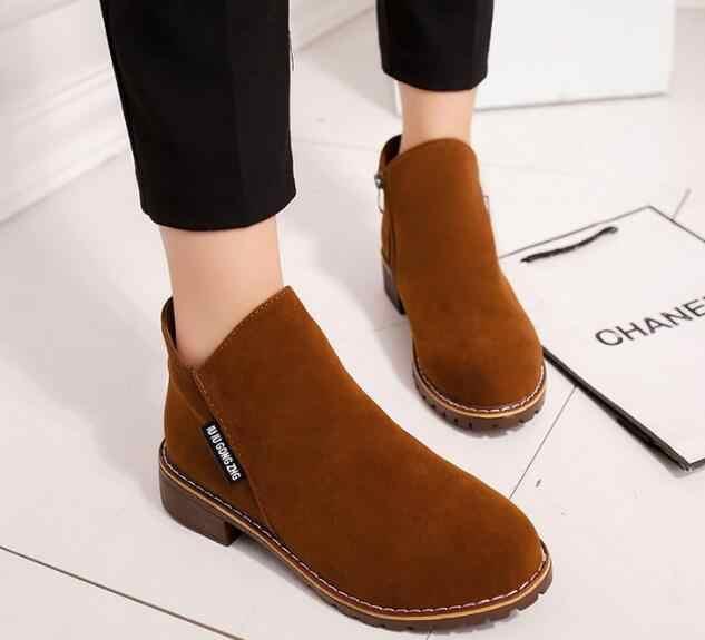 Otoño Mujer Zapatos mujeres nuevas botas Otoño Invierno botas clásicas cremallera nieve tobillo botas invierno gamuza cálido Piel de felpa