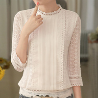 Women Autumn Casual White Lace Blouse 2016 Fashion Sexy 3 4 Sleeve Stand Collar Crochet Tops