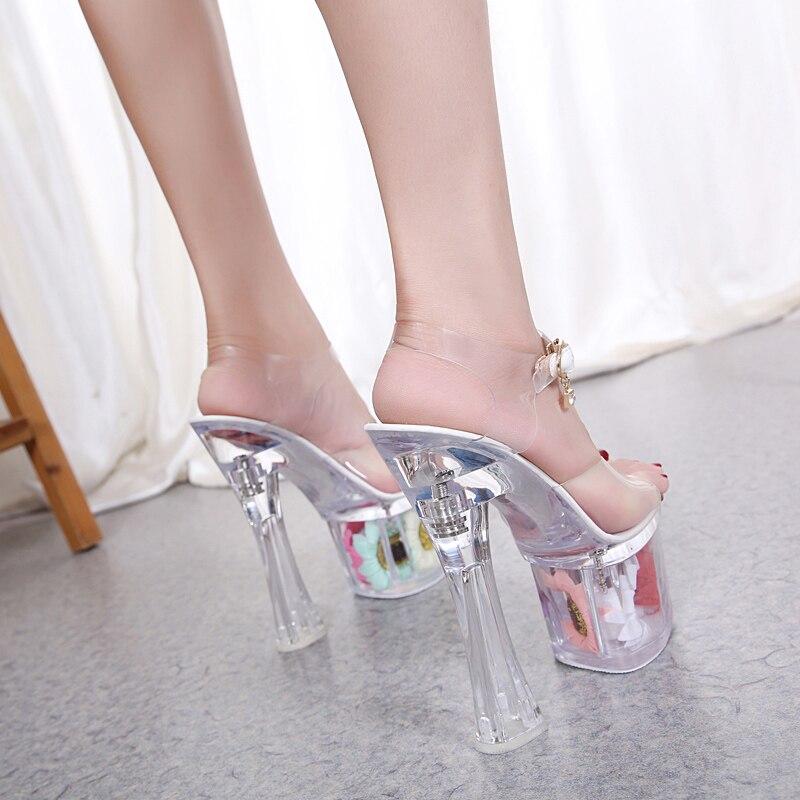 Kühle Blume Sonne Hochzeit Transparent Ferse 34 Fersen Größe Dünne Schuhe Sandalen Cm Sommer 43 17 Frauen Sexy Kristall Platz qU6IwXq