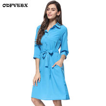 2019 new summer shirt season dresses female medium long casual wild lapel button seven-point sleeve solid color dress women's(China)