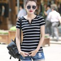 2016 new summer cotton V black and white striped short sleeved T-shirt collar shirt size haihunshan female coat