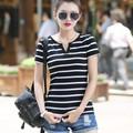 2016 nuevo algodón del verano V cuello negro y blanco a rayas de manga corta T-shirt camisa tamaño capa femenina haihunshan