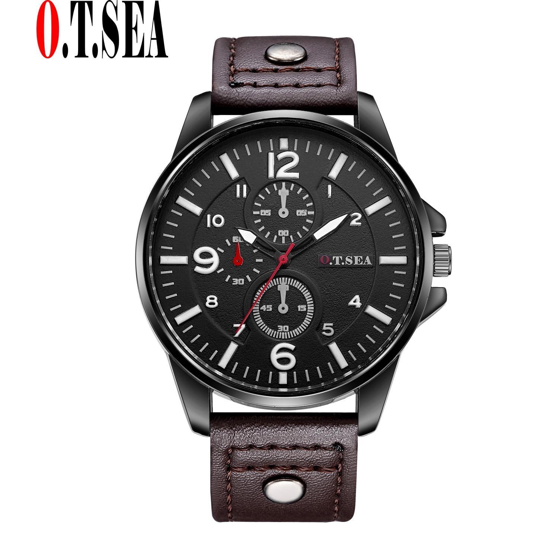 48088ff2b38 Hot Vendas O. t. marca MAR Três Círculos de Couro Pu Relógios Homens ...
