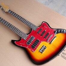 Заводская вишнево-золотистый двойная электрическая гитара и бас, 6+ 4 струны гитара и бас, хромированное оборудование, предложение по индивидуальному заказу