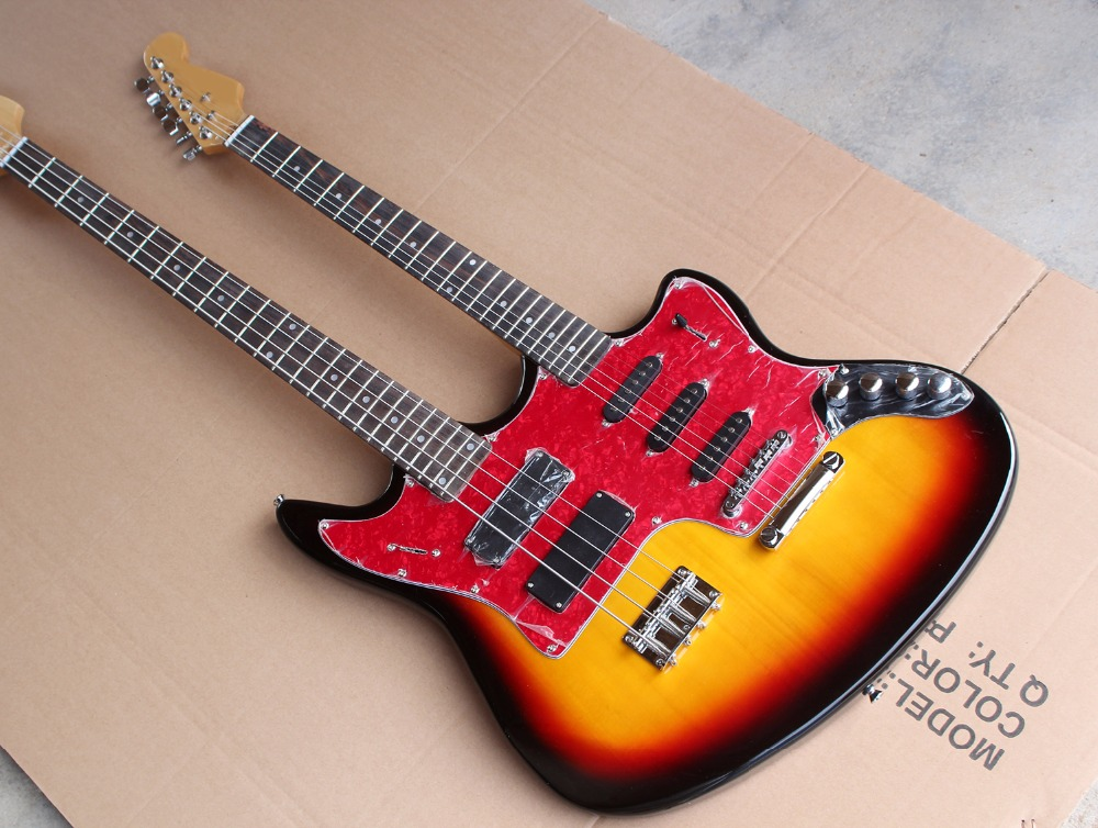 factory custom cherry sunburst double neck electric guitar and bass 6 4 strings guitar and bass. Black Bedroom Furniture Sets. Home Design Ideas