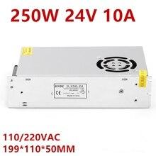 Fuente de alimentación LED 24 V 10A 250 W LED Driver fuente de alimentación 24 V potencia 3528 5050 iluminación para refrigeración del ventilador S 250 24