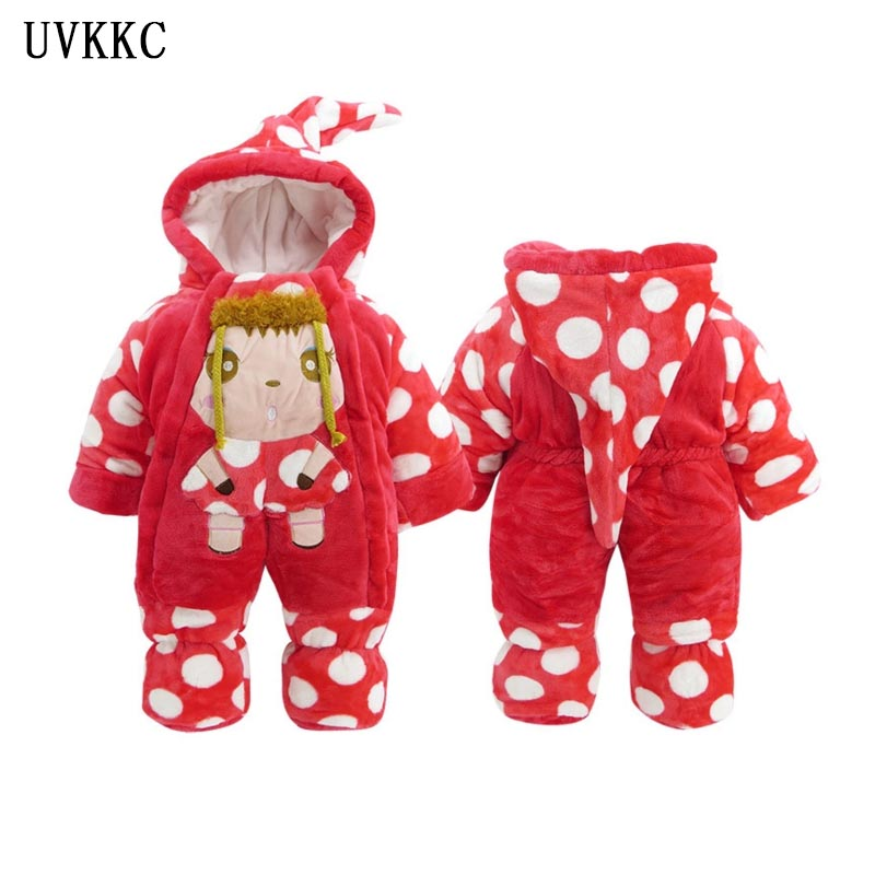 UVKKC Baby Girls Clothing long sleeve Outerwear Coats Cartoon Sleepwear Robes Flannel Baby Rompers winter ropa de bebe nena
