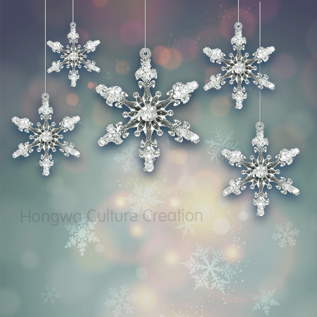 45cm 24pcs acrylic snowflake 3d solid snowflakes christmas ornaments festival and wedding decorations diamond glitter