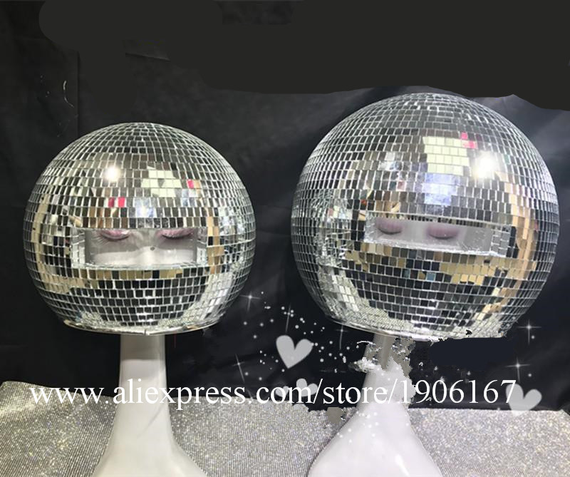 Ballroom dance costumes mirror men women singer stage show wears dj clothe Glass ball led helmet catwalk disco performance6
