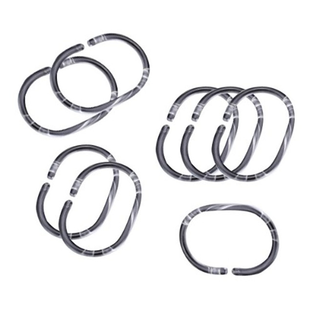 Solid 12pcs Shower Curtain Ring Rustproof Hooks Glide Metal Rings For Bathroom Rods