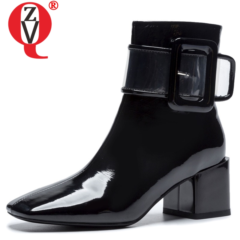 ZVQ women shoes 2019 winter new fashion patent leather boots women square toe high square heel