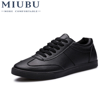 MIUBU Men Breathable Leather Shoes Wear Casual Fashion Comfortable Black Mens