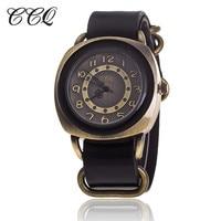 CCQ винтажный кожаный ремешок Часы Высокое качество для женщин кожа наручные Модные женские часы Кварцевые Relogio Feminino