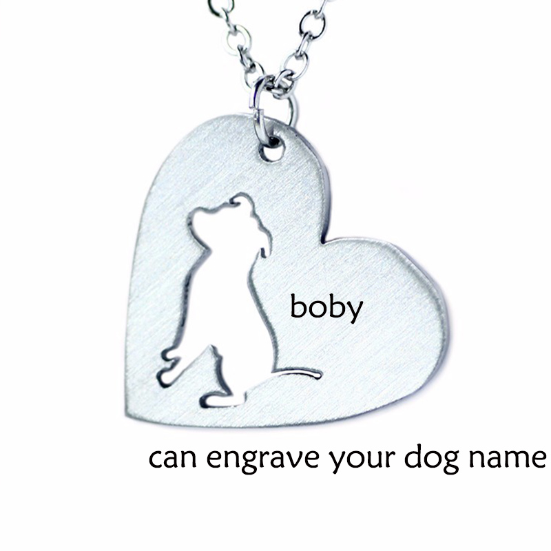 Heart shaped Custom necklace Personalized Necklace,Bulldog Animal Jewelry Love Dogs, Can Burn Name / Date of Birth Dog Collar