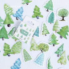 46 pcs/pack Cute Green Plant Decoration Stickers Forest Tree Label Sticker Scrapbooking Diy Diary Album Bullet Journal