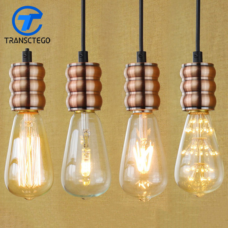Single head simple retro E27 copper lamp holder pendent lamp tea shop restaurant outlets decorative chandelier bar stairs djb1040 full copper six head chandelier 220v
