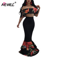 SEBOWEL 2017 Autumn Elegant Ruffles Floral Printed Two Piece Set Women Formal Party Wear Crop Top
