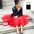 Skirts Suits 2017 Mid Calf Red Tulle Skirts For Women With Black Tanks For Free Tutu Skirt Coats Winter Autumn Maxi Skirt