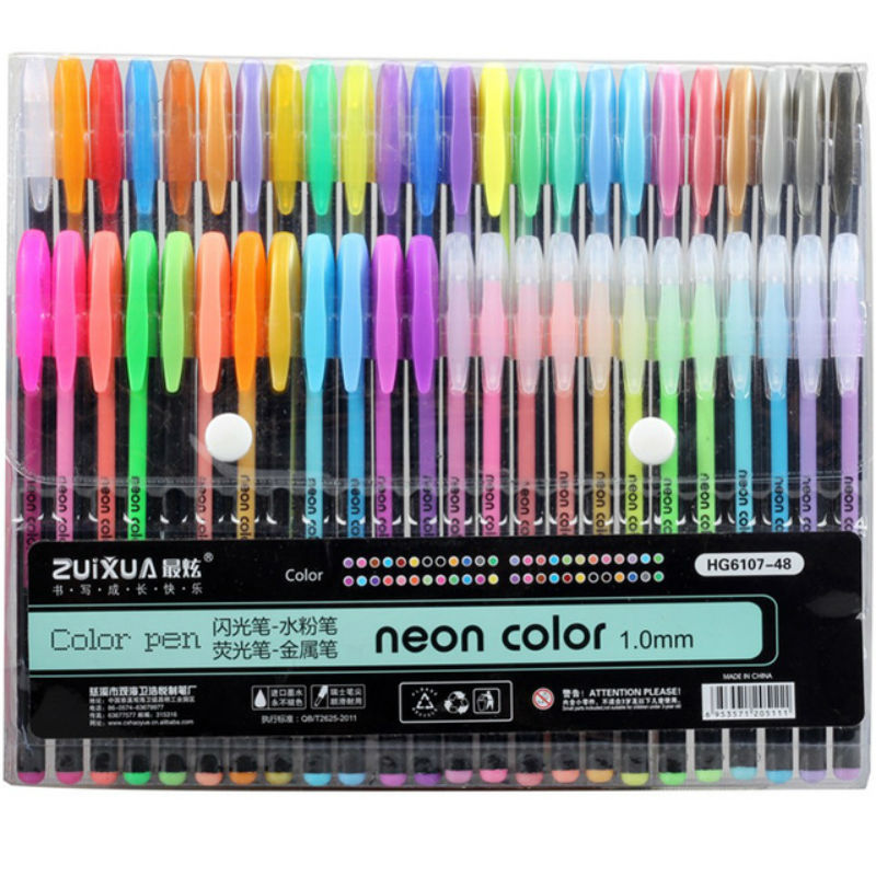 12/24/36/48PCS Color  Gel Pen Metal Color Neon Lights Flashing Painting Drawing School Office Supplies The Children Gifts