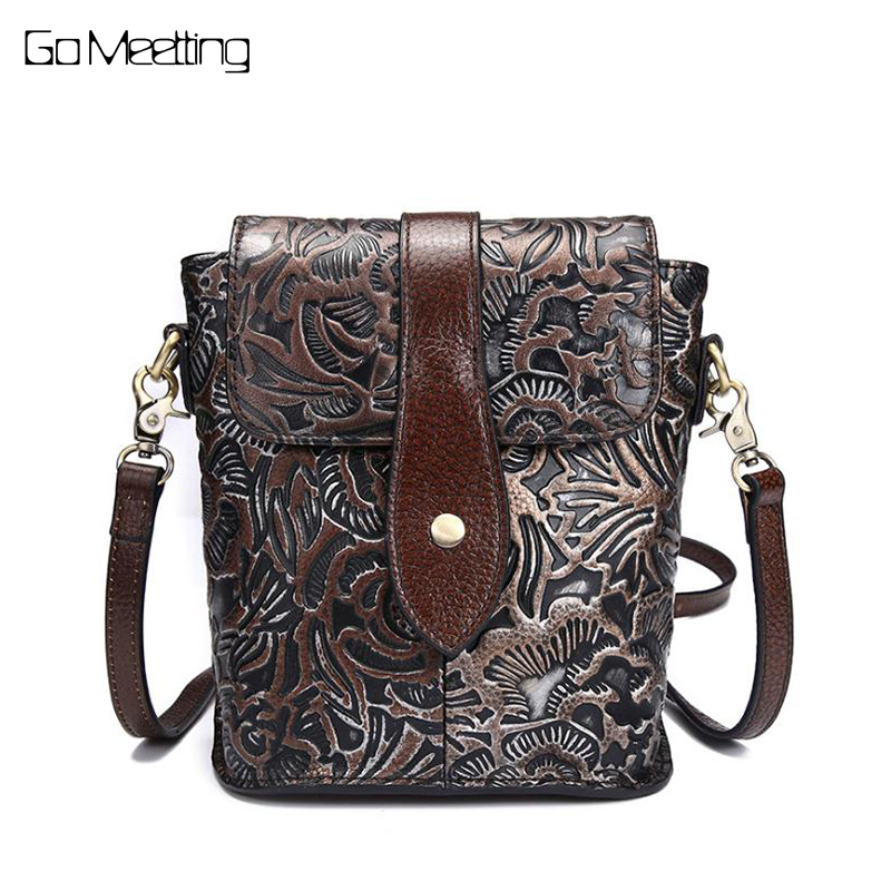 Famous Women Embossed Flower Shoulder Bags Female Vintage Messenger Bag High Quality Genuine Leather Ladies Small Handbag Flap fashionable women casual high quality crocodile embossed genuine leather small mini messenger bag