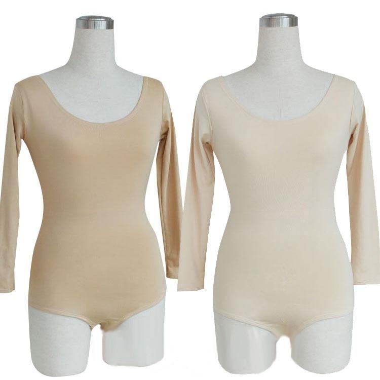0146ca991 2 colores de manga larga Spandex Ballet Tops ropa interior de Color de piel  Lady Dance leotardo mujeres adultos gimnastic Nude leotardo Ropa de baile  en ...
