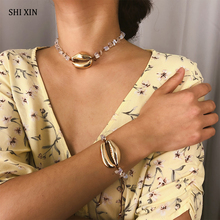 SHIXIN Punk Natural Stone Beads Choker Necklace Personalized Shell Necklace Women Gold Necklaces Pendant Female Jewelry недорого