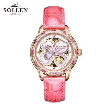 nuevo concepto 88483 44eec Relojes de marca de lujo para mujer mejor regalo mecánico automático  romántico cuatro hojas diamante zafiro italiano piel de becerro reloj de  pulsera ...