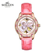 luxury brand watches women best gift automatic mechanical Romantic four leafs diamond sapphire Italian calfskin wristwatch