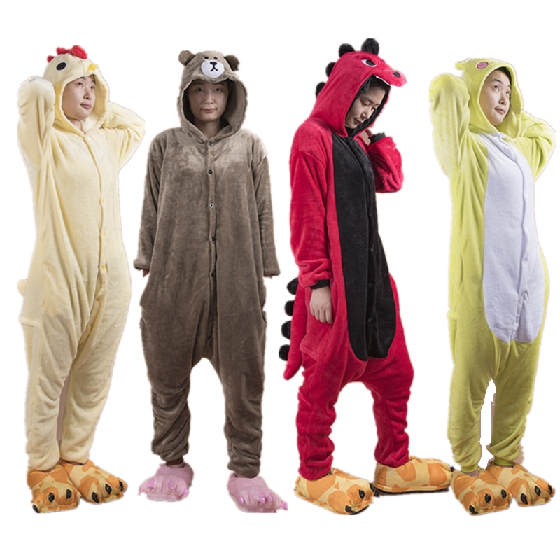 2019 New Fashion Animal Pajamas Women Men Pajama Cosplay Flannel Onesie Chick Frog Dinosaur Bear Autumn Winter Adults Sleepwear