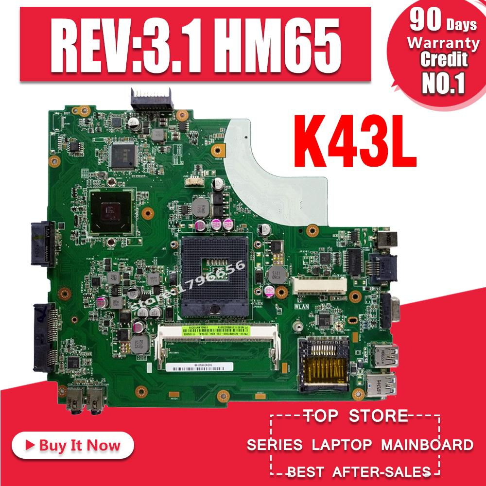 K43L Motherboard REV:3.1 HM65 For ASUS X44H X84H K84L K43L K43LY Laptop Motherboard K43L Mainboard K43L Motherboard Test 100% OK