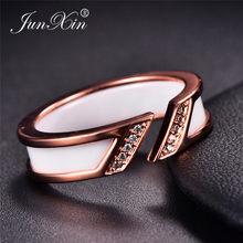 2c7d6ac31c JUNXIN Korean Open White Black Ceramic Rings For Men Women Rose Gold  Titanium Steel Couple Ring Male Female Crystal Ring Wedding