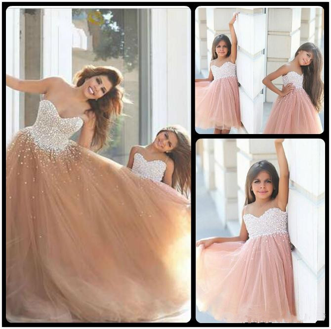 New 2017 Custom Flower Girl Dresses For Wedding Beaded Pearls Champagne Tulle Girl Pageant Birthday Dresses First Communion Gown hot sale custom cheap pageant dress for little girls lace beaded corset glitz tulle flower girl dresses first communion gown